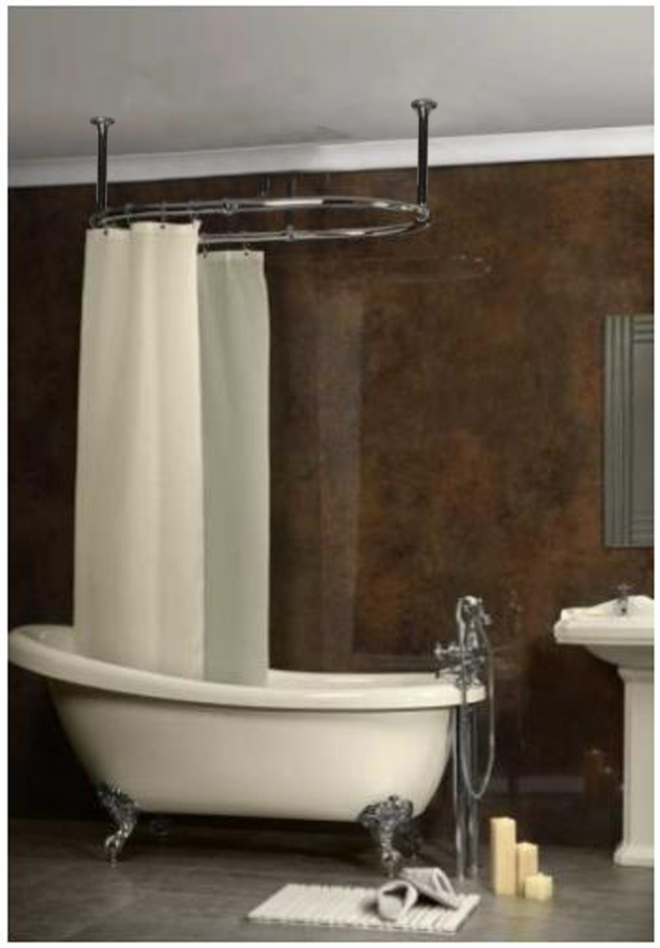 ceiling mounted circular shower curtain rail www. Black Bedroom Furniture Sets. Home Design Ideas